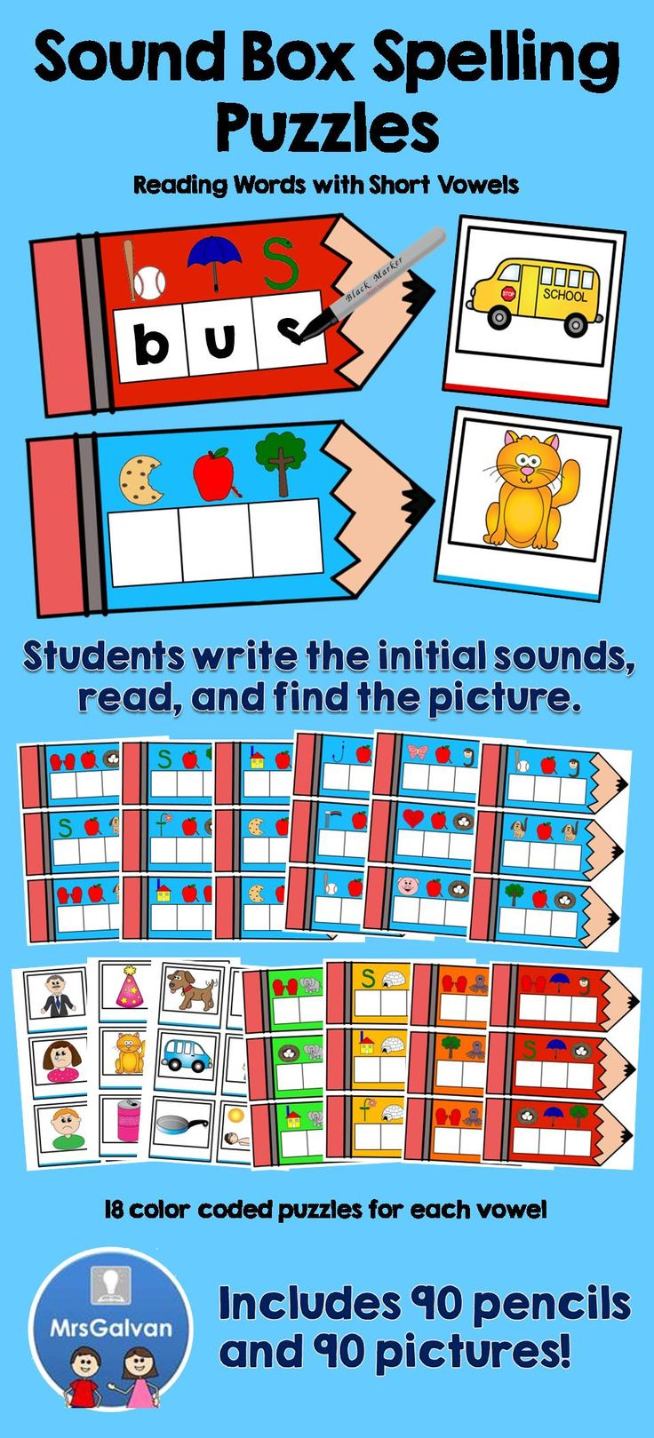 Worksheet How To Learn Spellings Quickly 1000 images about centers on pinterest math subitizing and the sound box spelling puzzles are a hands way for children to learn how read spell they can quickly become new literacy