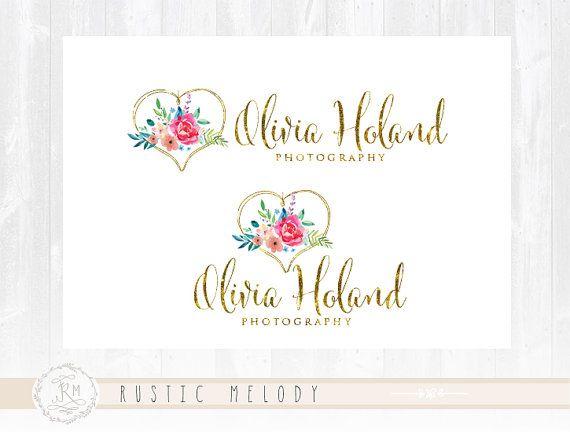 Floral Logo Design Events Logo Photography Logo Watercolor Logo Boutique Logo Shabby Chic Logo