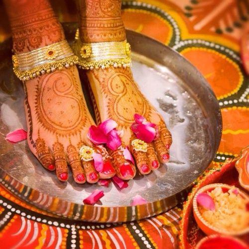 Image result for bride leg wash desi