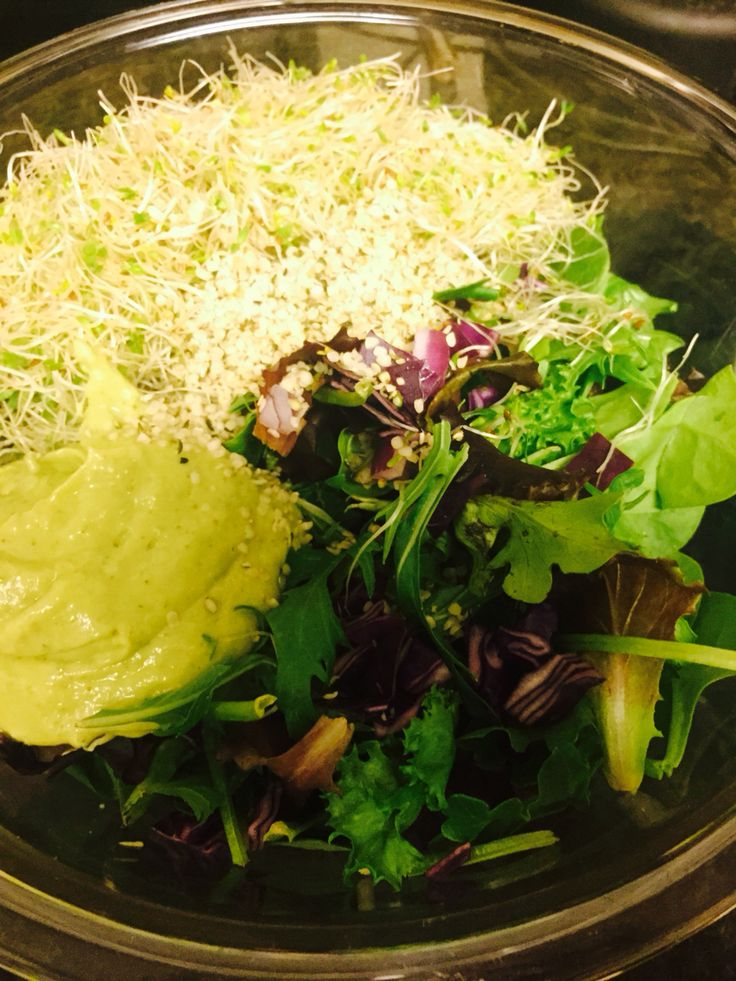D I N N E R is served!!!  Sprouts, mixed greens, hemp seeds and an avocado Dill tangy dressing!