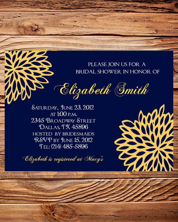 Bridal Shower Invitation Wedding Blue And Yellow Invite Digital Printable File