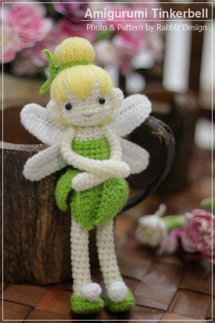 Tinkerbell Amigurumi Crochet Doll PDF Pattern by rabbizdesign on Etsy - £3.09
