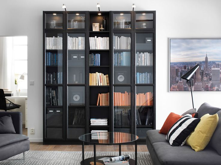 A Living Room With BILLY Bookcase In Black Brown And SDERHAMN Sofa Grey