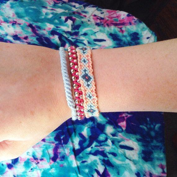 Set of 3 Bohemian Woven Metal Friendship Bracelet Stack Arm Candy Colourful Mix & Match Boho Chic