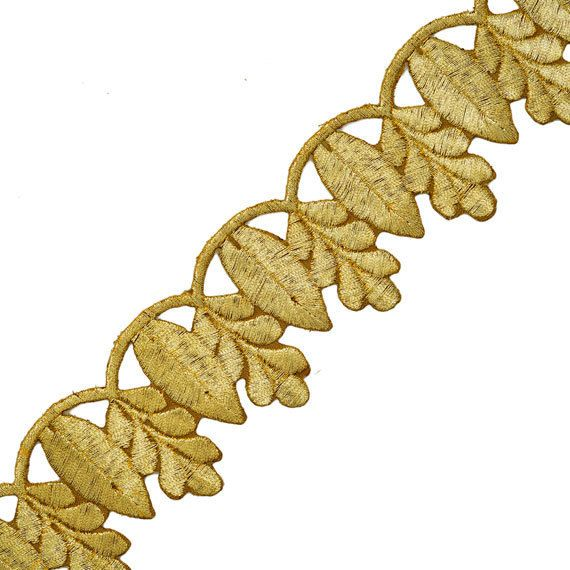 Iron on Metallic Leaves Trim for Bridal Costume or Jewelry