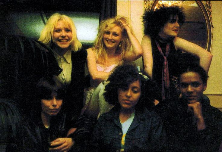 Debbie Harry (Blondie), Viv Albertine (The Slits), Siouxsie Sioux (Siouxsie and the Banshees), Chrissie Hynde (The Pretenders), Poly Styrene (X-Ray Spex) and Pauline Black (The Selector), London, 1980.