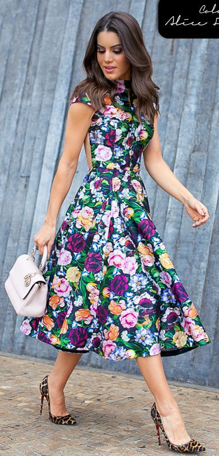 Floral And Leopard Outfit Idea