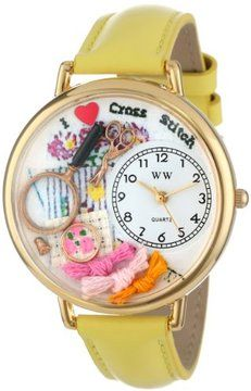 Whimsical Watches Women's G0450010 Cross Stitch Yellow Leather Watch on shopstyle.com.au