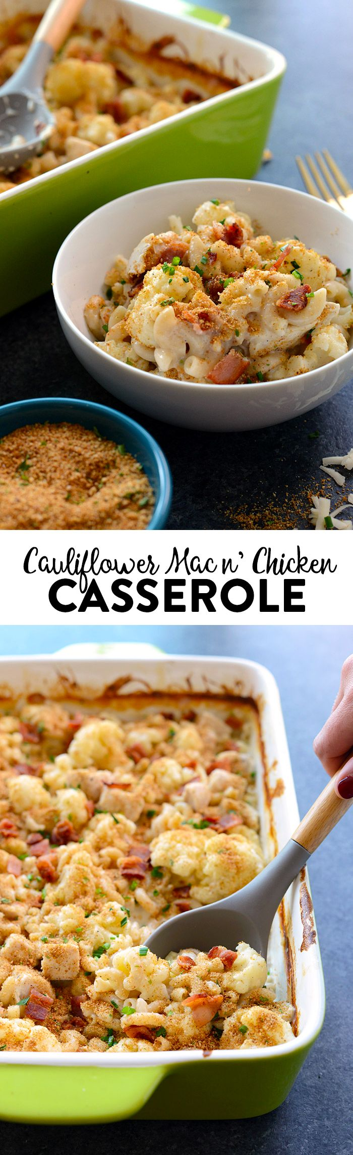 This recipe makes healthy comfort food a real thing! Make this Cauliflower Mac n' Chicken Casserole with ancient grain pasta for the most epic meal the entire family will love! | @FitFoodieFinds