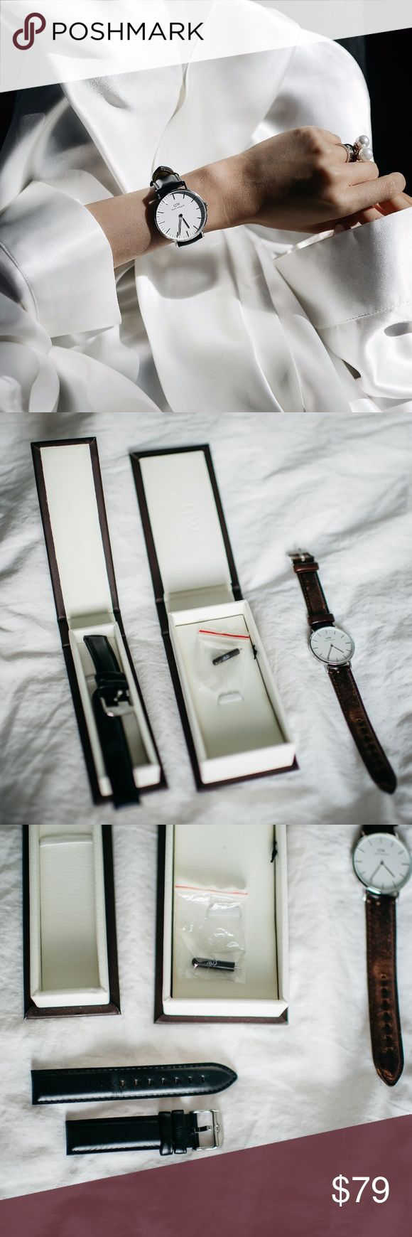 """Daniel Wellington Classic Sheffield Silver 36mm PLEASE READ: W/ boxes and TWO leather straps: 1 black Classic Sheffield strap, and 1 Classic brown Bristol strap.  Worn once for the pictured photoshoot. Minimal wear on the leather straps due to fitting. Price is final.   Product details:  """"This minimalistic piece proves that simple does not necessarily mean boring."""" Case thickness 6mm Dial color:Eggshell White Movement:Japanese Quartz Movement Strap width:18mm Interchangeable straps: Yes…"""