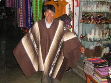 Brauner #peruanischer Herren #Poncho, #Alpakawolle