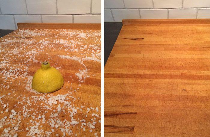 Så rengör och desinficerar du din skärbräda på bästa sätt - Sköna hem Lemon & coarse salt.