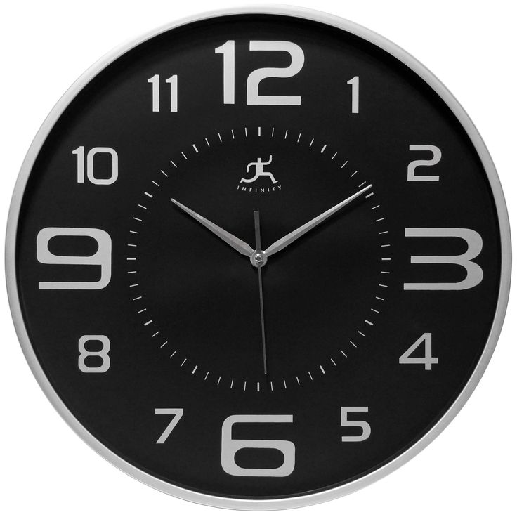 18 inch Silver Wall Clock Tux by Infinity Instruments