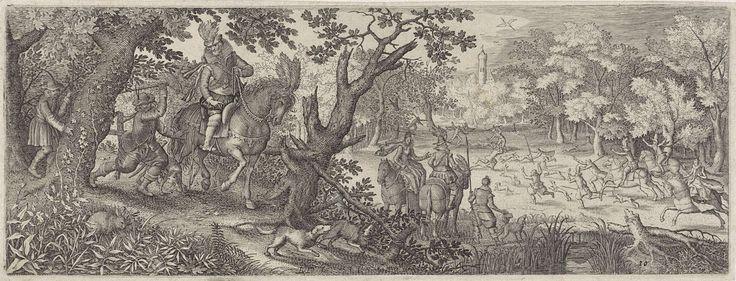 Pieter Serwouters | Konijnenjacht, Pieter Serwouters, Claes Jansz. Visscher (II), 1612 | Een heer te paard rijdt met zijn dienaren en honden over een bospad. Een van de dienaren haalt met een stok uit naar een konijn aan de kant van de weg. Een andere heer en een dame te paard kijken uit over een open plek iin het bos, waar een drijfjacht plaats vindt.