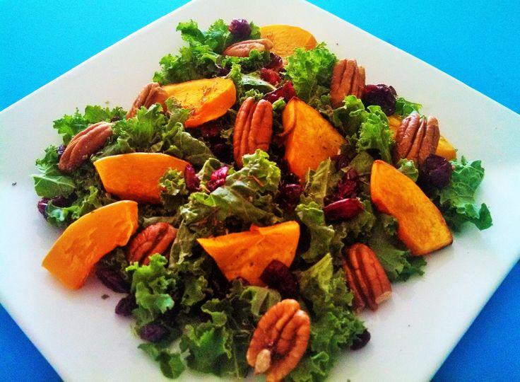 Autumn kale salad with pumpkin and cranberries