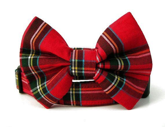 Red Plaid Dog Collar Scottie Plaid Black Hardware