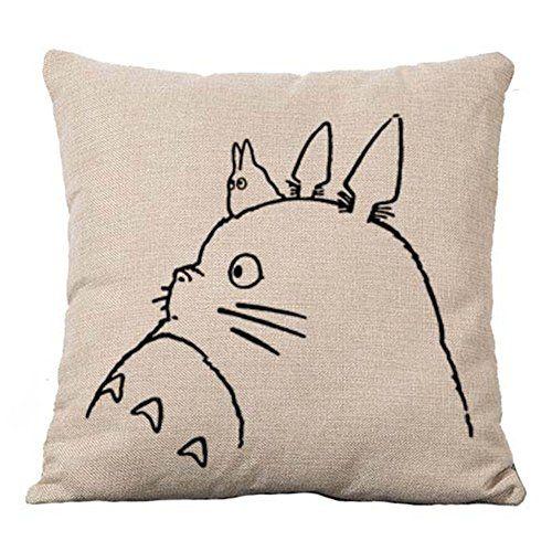 Your Smile Totoro Cotton Linen Throw Pillow Covers Decora