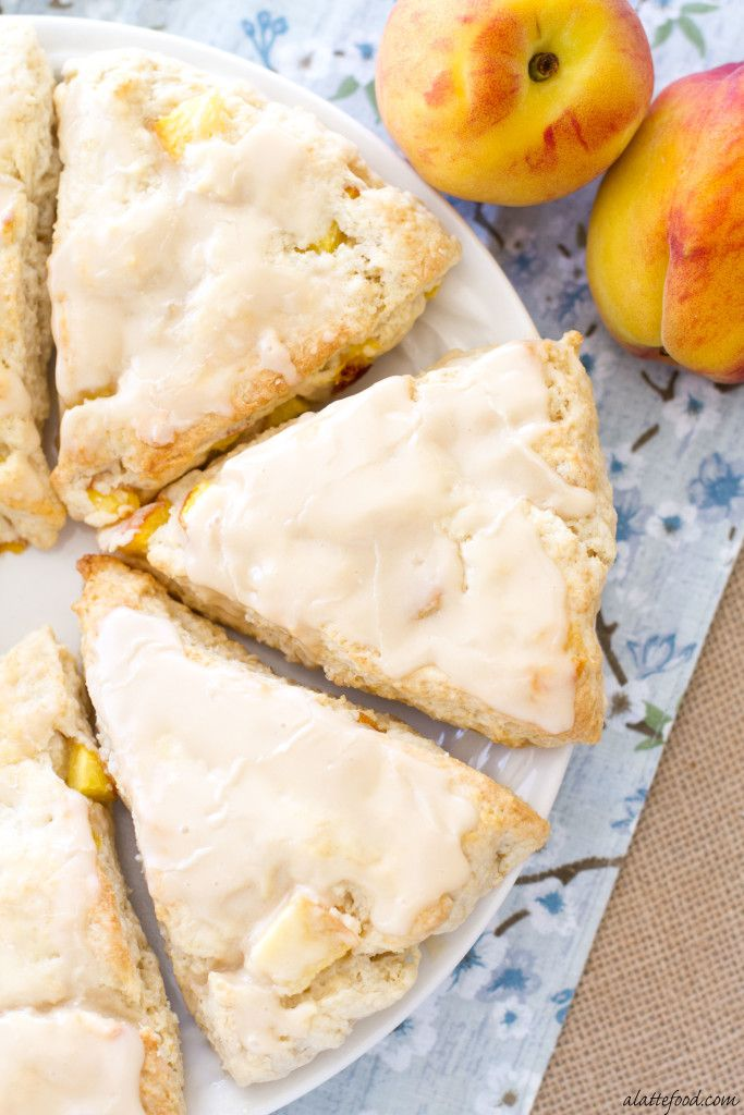 Peach Pie Scones with a Vanilla Glaze