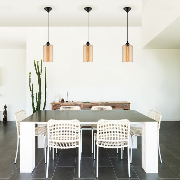 Replica Abby #pendants with Amber coloured shades from #Micalighting
