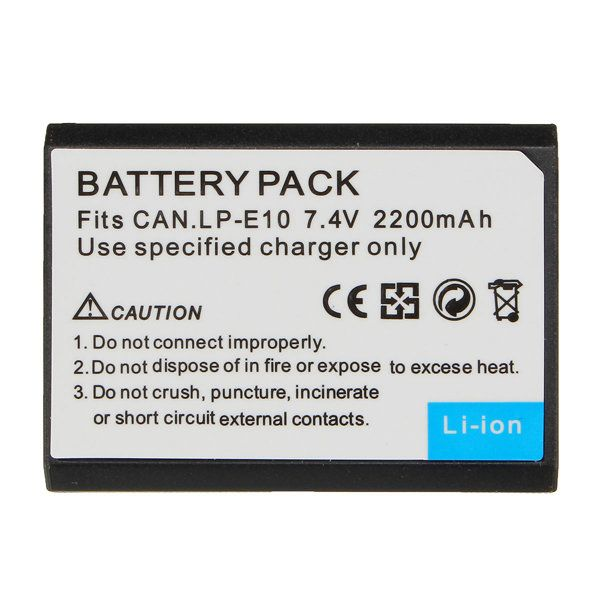 2200mAh LP-E10 Rechargeable Camera Battery For Canon EOS 1100D 1200D Kiss X50 X70 Rebel T3 T5