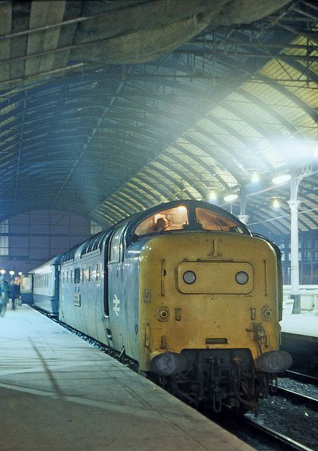 55002 'The Kings Own Yorkshire Light Infantry' fills the Hull Paragon station roof with noise after arrival with the  1D04 17:05 King's Cross-Hull on December 29th 1979.
