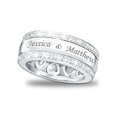 """Forever Love"" 12-Diamond SS Spinning Band Personalized Ring, Bradford Exchange, $139.00, available in payments."