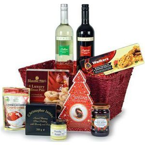 Class Christmas Hamper contains the following Christmas Goodies.  Bottle of Senso Sangiovese (75cl)  Bottle of Senso Trebbiano Preserve  Christopher James Award Winning Plum Pudding with Brandy and Port (200g)  Christopher James Brandy Butter  Walkers of Aberlour White Chocolate & Raspberry Biscuits  Grandma Wild's Luxury Mince Pies (x4)  Forest Feast Handmade Belgian White Chocolate Cranberries  Guylian's Temptations Christmas Tree Artisa