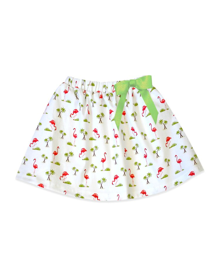 Milly White Flamingo Skirt with Pink Ribbon Belt