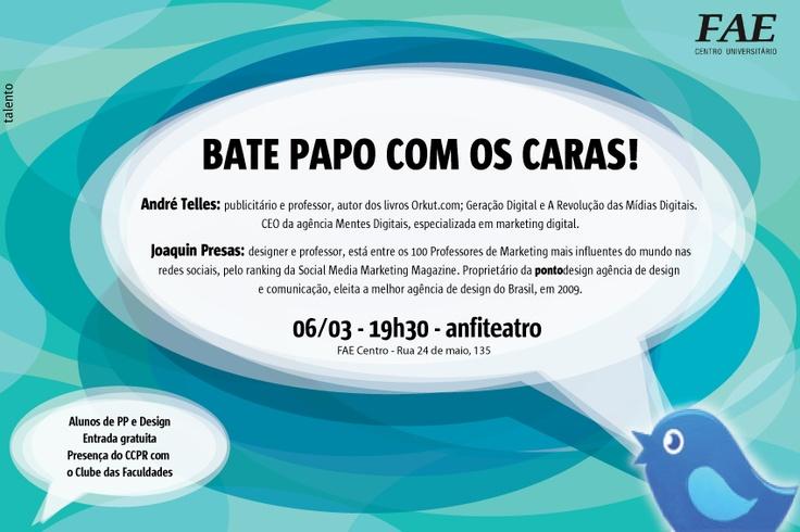 Bate Papo com os Caras! - março 2012: Wedding Anniversary, Talento Agência, Anniversary Gifts, Experimental Fae
