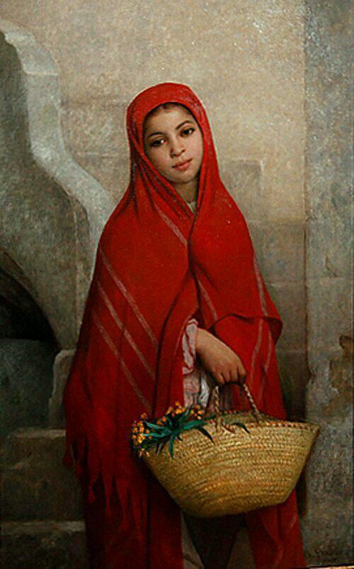 Algérie - Peintre Français CharlesZacharieLandelle(1821-1908), huile sur toile , Titre : Fille Algérienne avec des fleurs