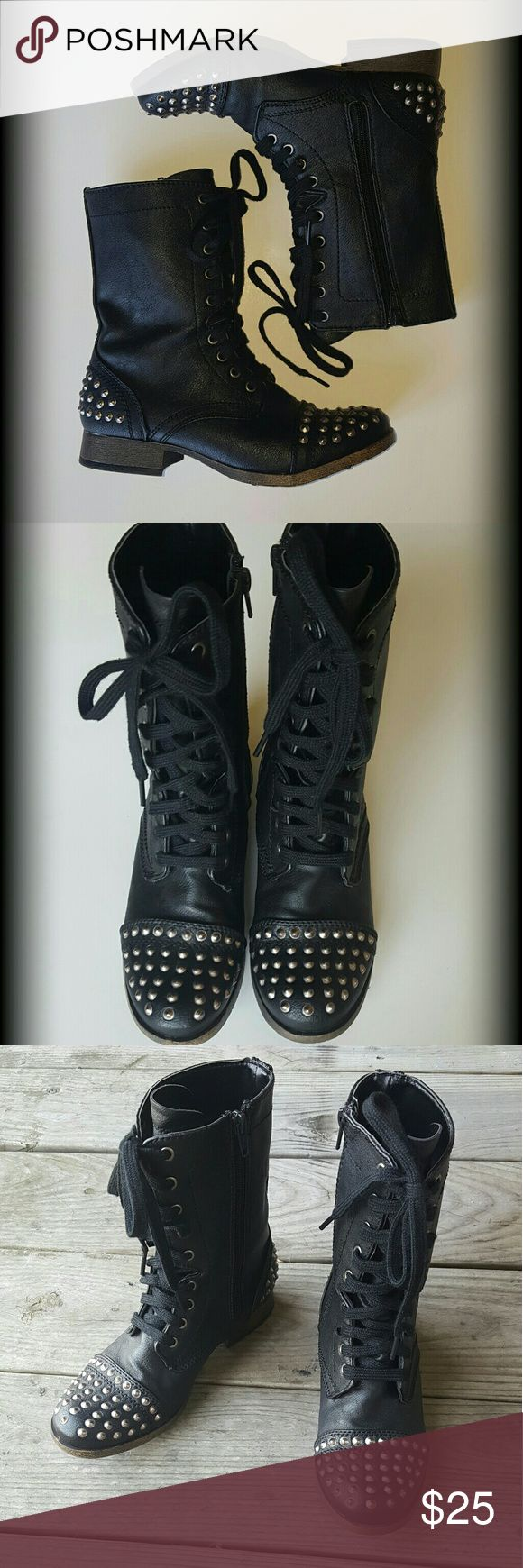 Black Studded Combat Boots Candies Black Combat Boots lined with Studs on the heel & toe.  Size 6   NEVER WORN   no tags  Zipper on the insides of the shoes  Thanks for reading and have a great day! Candie's Shoes Combat & Moto Boots