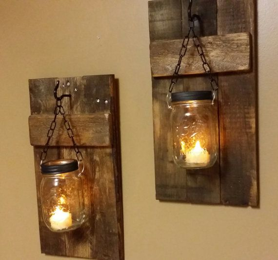 These wood sconce candle holders are made from reclaimed wood. The ones pictured are stained Early American. please be advised that depending