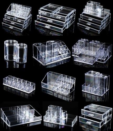 Cosmetic Organizer Clear Make Up Acrylic Cosmetics Box Lipstick Holder Drawers | eBay