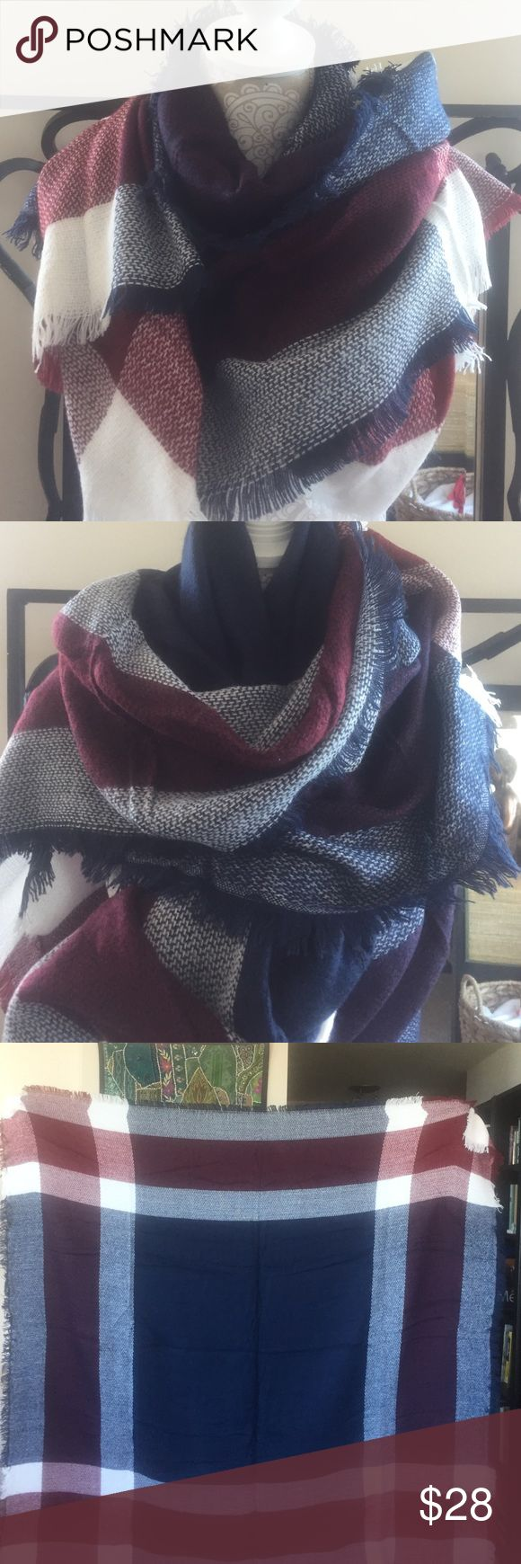 "Blanket Scarve Wrap/ Shawl This blanket scarf comes in plaid Burgundy, Navy Blue and cream. This scarf is made out of a super soft, lightweight, acrylic polyester, woven fabric and measures 58"" by 55""""inches square.  This scarf is perfect for traveling, cold nights around the camp fire, and keeping warm at the football games because it is large enough to use as a blanket or wrap.  Plus, its so cute you can't help but to make it your favorite outdoor scarf! TANAH Accessories Scarves & Wraps"