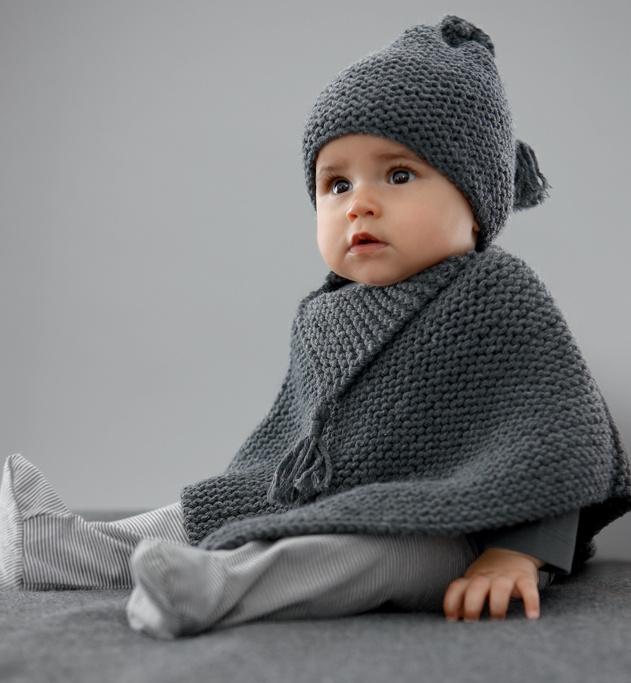 Modèle poncho bébé au point mousse - Modèles Layette - Phildar