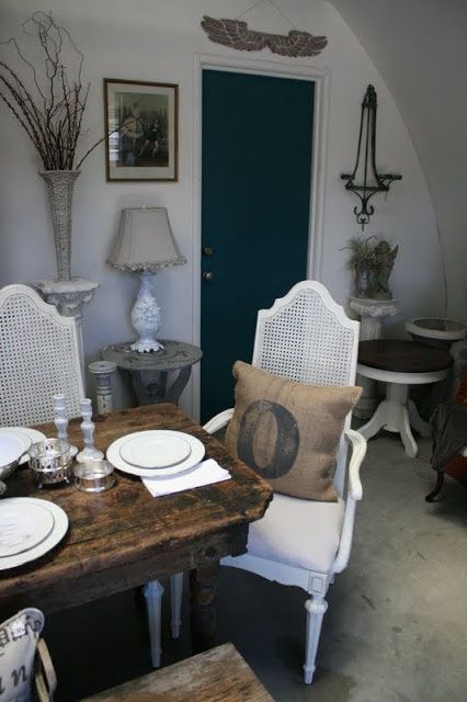 Vintage Cane Back Chairs in Old White