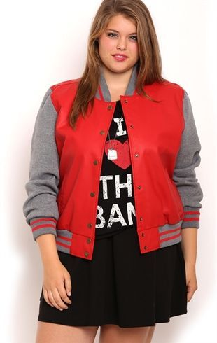 Deb Shops Plus Size Faux Leather Varsity Jacket with Fleece Sleeves