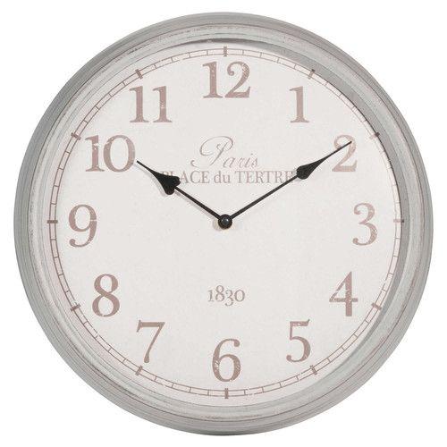 Uhr aus Metall, grau, D 39cm, ÉLÉONORE