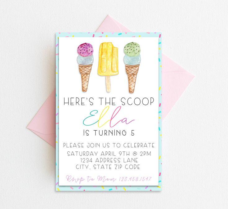 Hier ist die Einladung, Eis Party einladen, druckbare Geburtstagseinladung …   – Zoey's Here's the Scoop Party