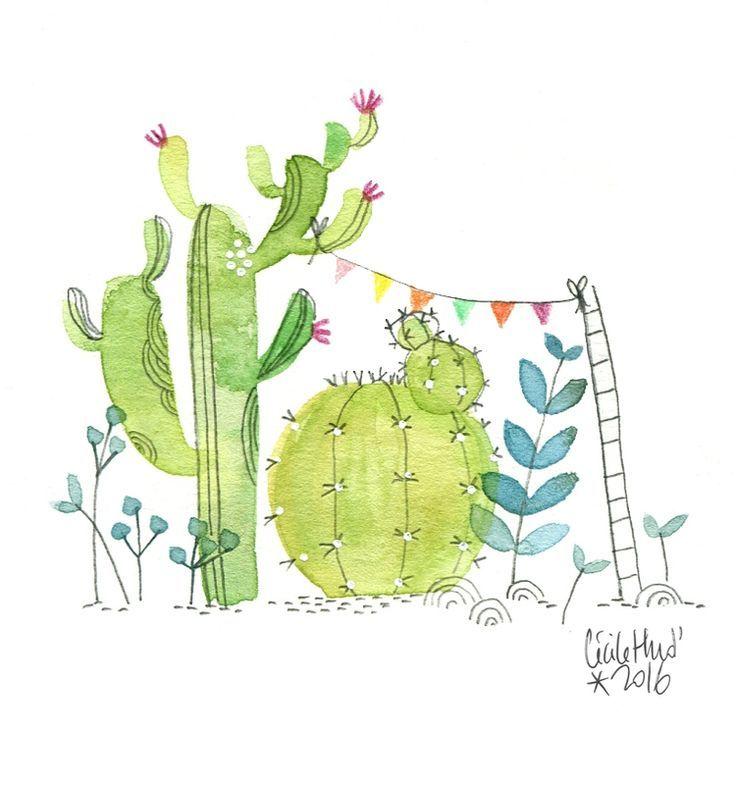 Festive Air The Chosettes Cactus Art Watercolor Cactus