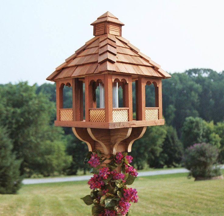 large cedar bird feeders Gazebo bird feeder, Wood bird