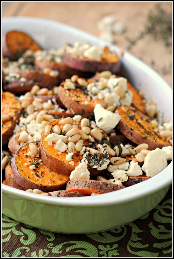 Herbed Sweet Potatoes with Feta and Pine Nuts