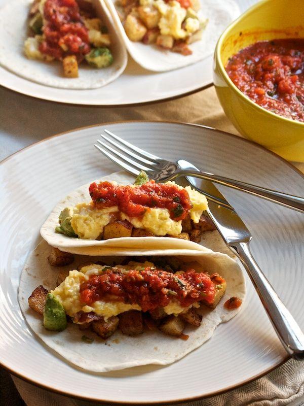 Spicy Potato & Avocado Breakfast Tacos