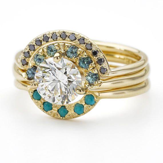 Boho Wedding Ring Set, Teal Sapphire Ring, One Carat Diamond Ring, Diamond Turquoise Engagement Ring, Nesting Wedding Rings, Three Rings Set