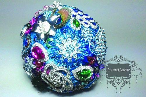 Szikrázó türkiz ékszercsokor ékszercsokor;örökcsokor, ;brosscsokor;broochbouquet, jewellery bouquet