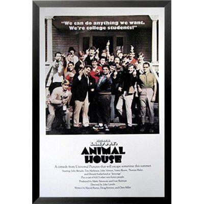 Buy Art For Less 'Animal House Middle Fingers Movie' Print Poster John Belushi Tim Matheson Framed Memorabilia Size:
