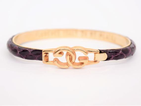 9a0b95dcc Vintage Gucci Bracelet Purple Snakeskin 24k Gold Plate Signed Gold bangle  70s 80s Signed Gucci Designer Jewelry Gift for her - Gucci Bracelet - Ideas  of ...