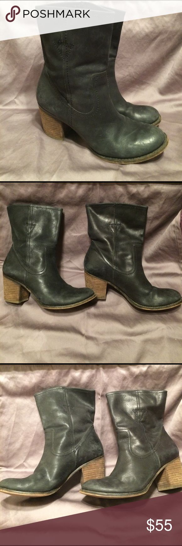 Black Leather Guess by Marciano Booties Guess by Marciano Black Leather Booties. Wear on heels. Some scuffing that a good shining can fix! 2.5 inch heel. Real leather! Guess by Marciano Shoes Ankle Boots & Booties