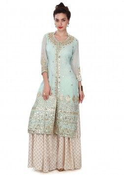 Ice blue suit adorn in gotta patch work only on Kalki