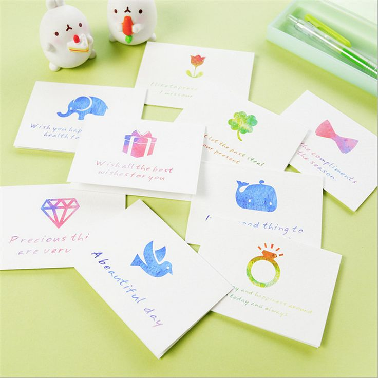New! 10pcs mixed Cartoon Mini Cards Set Greeting Message thank youCards & Invitations Gift DIY Wedding Party Supplies Favor-B